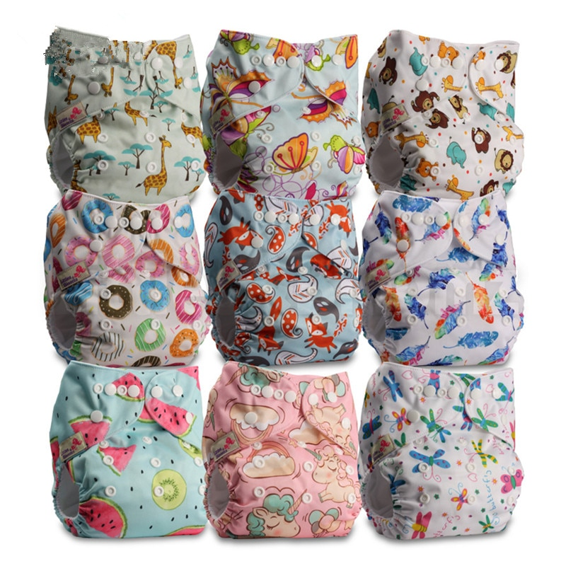 9pcs/set Baby Washable Reusable Real Cloth Pocket Nappy, 9 nappies/diapers and 0 microfiber inserts in one set