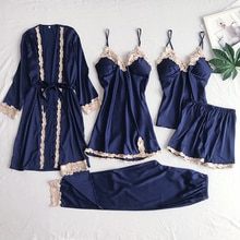 5 pçs conjunto de camisola de renda feminina camisola azul marinho com decote em v pijamas terno primavera pijamas robe sleepwear sleepwear casa pijamas