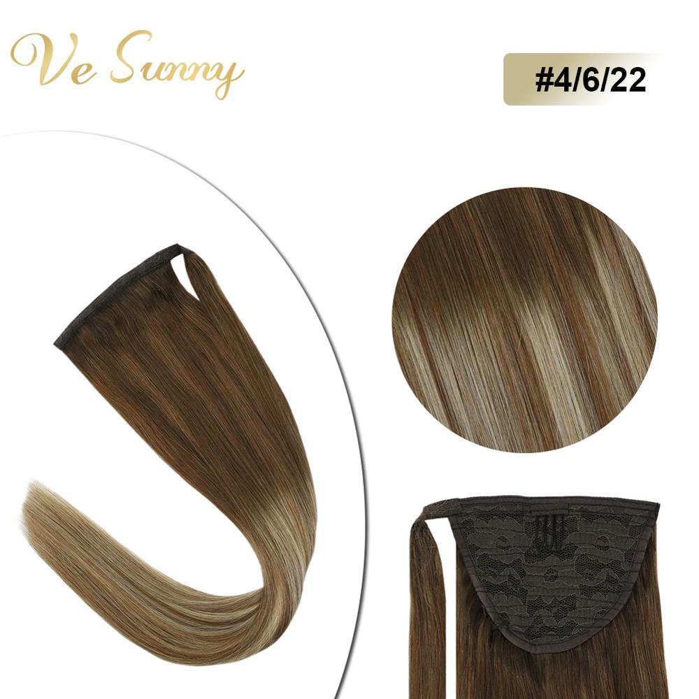 VeSunny конский хвост для наращивания обертывание вокруг волшебной ленты 100%