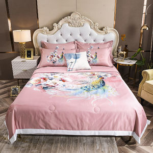 Washing Tencel Summer Cool Quilt Air Conditioner Quilt Four Piece Single Double Quilt Three Piece Thin Quilt On Bed Machine Wash