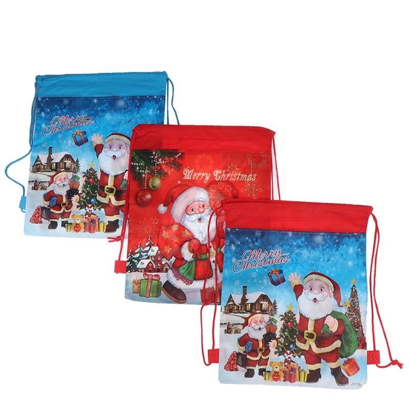 Nueva mochila grande con cordón de Santa Claus para niños, medias para Banquete de Año Nuevo, bolsa para regalos, bolsa de regalo de Navidad para dulces, bolsa de almacenamiento