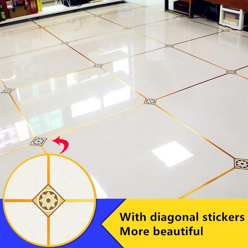 Decoración Para el hogar 50x0,05 m brecha de cinta de aluminio impermeable de plata de oro de hoja de cobre de etiqueta de la pared de piso costura etiqueta árabe