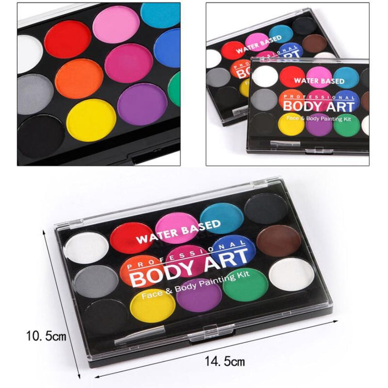 15 Colors Face Painting Body Makeup Non Toxic Safe Water Paint Oil With Brush Christmas Halloween Party Tools