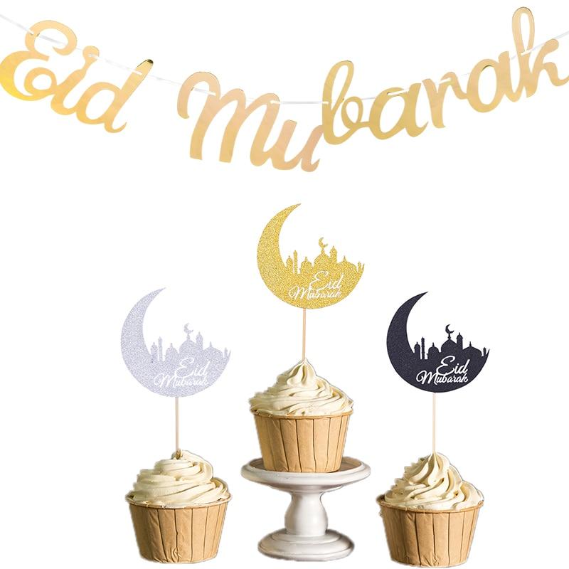 Neue Eid Mubarak Goldene Silber Banner Girlanden Kuchen Topper Eid Mubarak Dekorationen Ramadan Karneval Party Dekorative Liefert