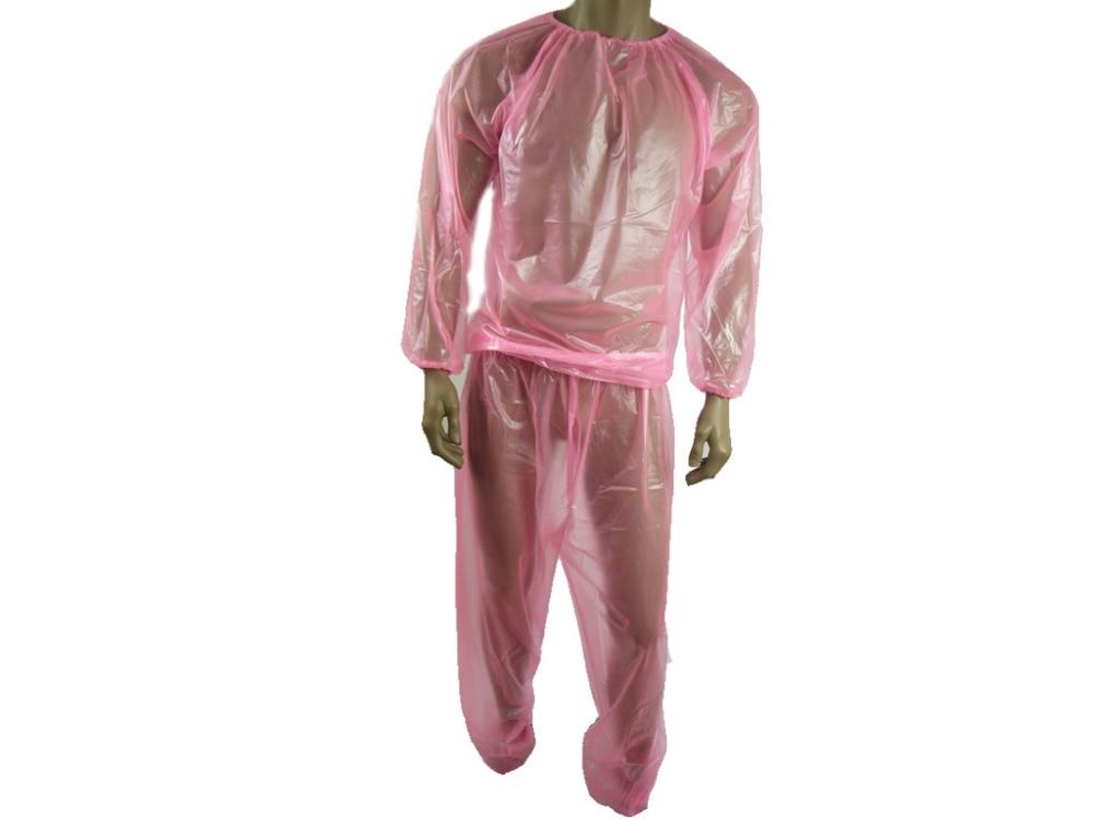 ABDL PVC Jogging traje Sauna-traje de Color rosa transparente P013-5