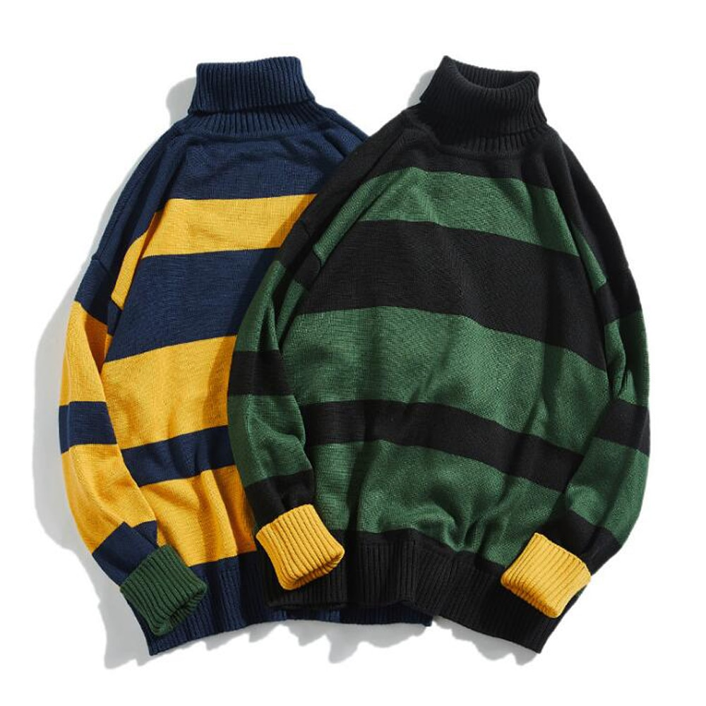 contrast striped pullover sweater ERIDANUS Striped Contrast High-neck All-match Men's Sweater Autumn 2021 Korean Pullover Harajuku Street Couple Sweater MZM122