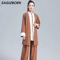 new three piece tai chi suit chinese traditional men women cotton linen tai chi kung fu clothing taoist meditation clothing sets