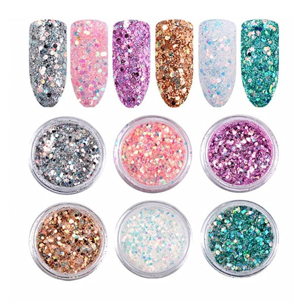 Brillo holográfico iridiscente Nail Art vino vidrio artesanías decoración polvo brillo uña decoración 10g FD