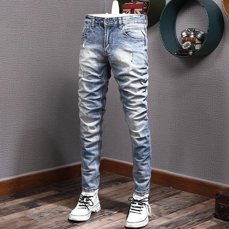 Новые дизайнерские модные мужские джинсы в стиле ретро светло-голубые эластичные облегающие потертые рваные джинсы с дырками мужские винт...