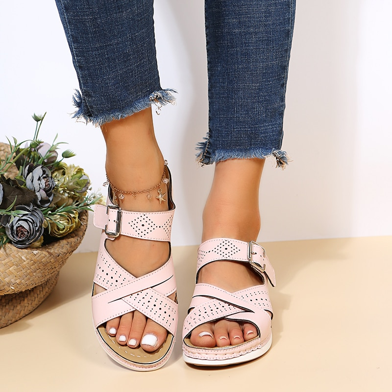 Women's Summer New Slippers Solid Color Slope Heel PU Casual Shoes Comfortable Lightweight Outdoor O