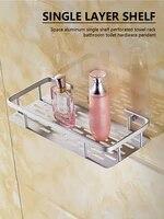 bathroom shelf space aluminum wall mount storage organizer rack with screws single layer shower shelf for bedroom kitchen