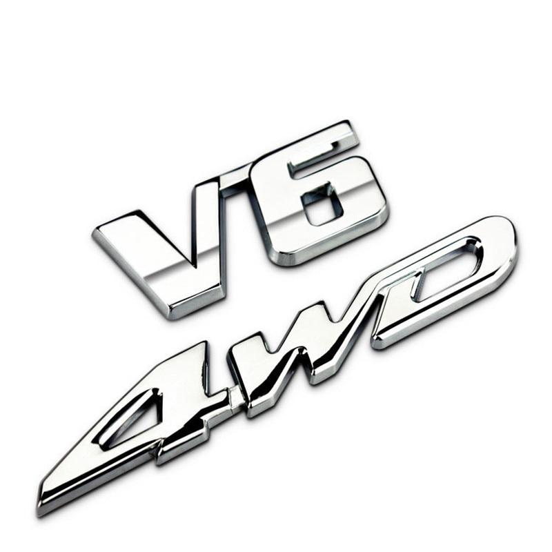 Accesorios de coche pegatina V6 4WD para Toyota Hyundai Volkswagen BMW Dodge Mitsubishi Auto Metal carta trasera emblema del maletero