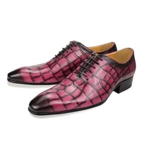 mens custom luxury wedding shoe for man leather dress handmade casual fashion formal pointed toe gingham lace up party men shoes