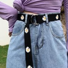 New Fashion Women Canvas Belts Daisy Double D Ring Buckle Long Waist Strap Harajuku Jeans Dress Casual  Female Student Belt