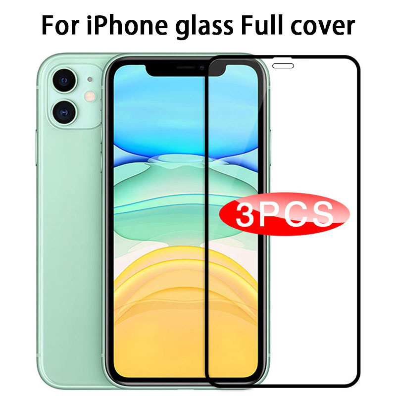 3pcs Protective Glass on For iPhone 11 Screen Protector for iphone 11 Pro X XR XS Max 6 7 8 plus Full Cover Glass for iphone 11