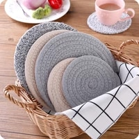 nordic style round cotton dining table mat coffee cup mug coaster heat insulation mat kitchen table placemat
