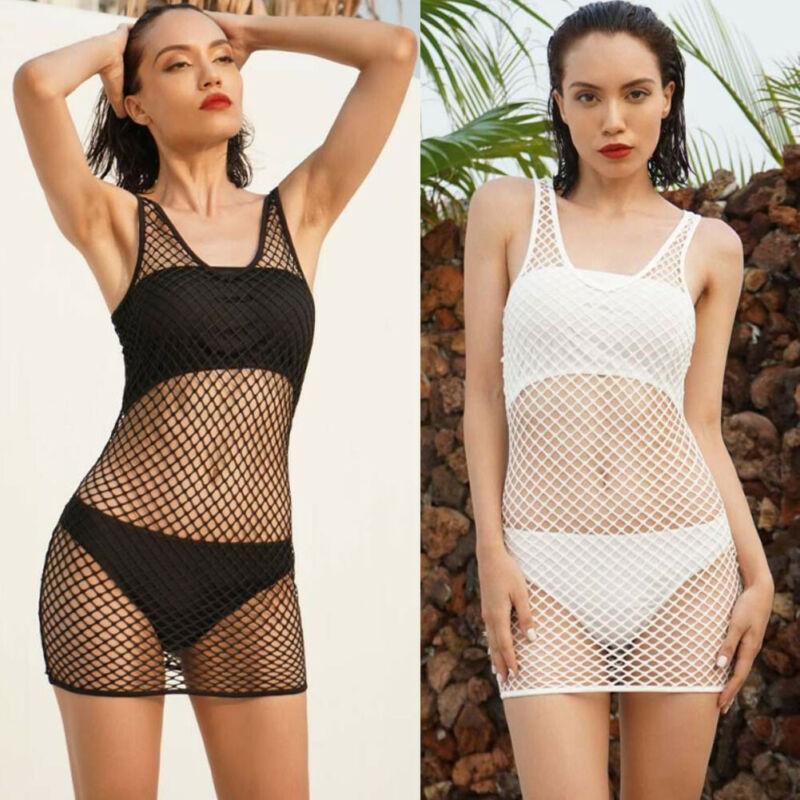 Summer Sexy Fishnet Hollow Women Mesh Crochet Bikini Cover Up White Black Sleeveless Swimwear Bathing Suit Summer Beachwear