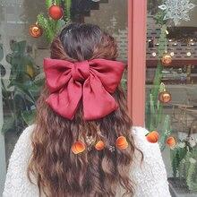 Internet Celebrity Ins French Red Big Bow Hairpin Headdress Korean Cute Girl's Hair Hoop Retro Side