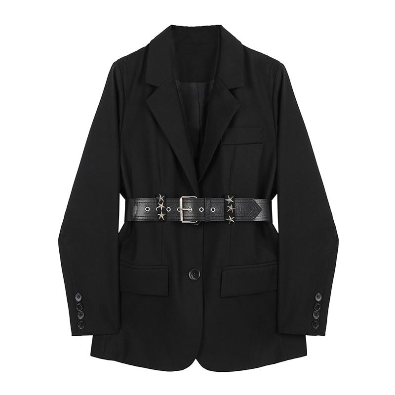 جاكيت نسائي بحزام ، جاكيت ، عتيق ، غير رسمي ، أكمام طويلة ، عصري ، لون عادي ، أسود ، ملابس خارجية ، خريف
