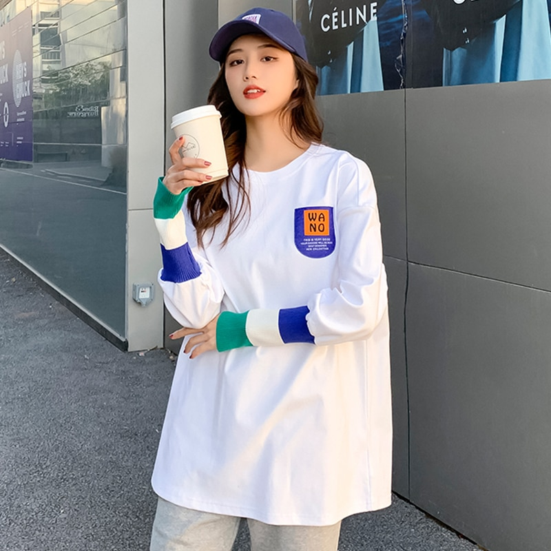 White Bottoming Shirt for Women 2021 Spring New Loose Korean Style Large Size Casual Mid-Length Long