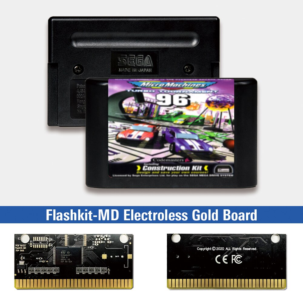 Micromáquinas Turbo Tournament, etiqueta europea, Flashkit MD, tarjeta PCB de oro sin...