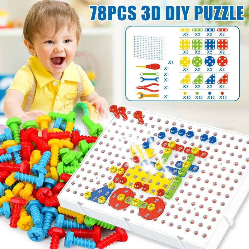 78pcs Kids Screw Puzzle Game Toy Intellectual Traning Education Parent-Child Play FJ88