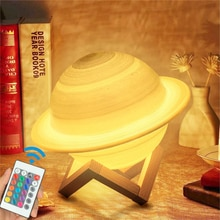 Saturn Light Moon Night Lamp 16 Colors LED 3D Print Decor USB Rechargeable Remote Touch Control Nigh
