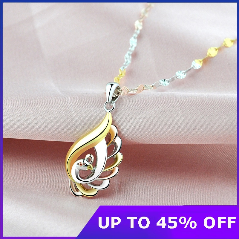 Real 925 Sterling Silver Female Necklace 18k Color Gold Pure Argentum Peacock...