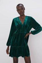 2020 Spring Summer New Velvet green zaraing women Mini Dress vadiming sheining female dress vintage sexy plus size Njn1514