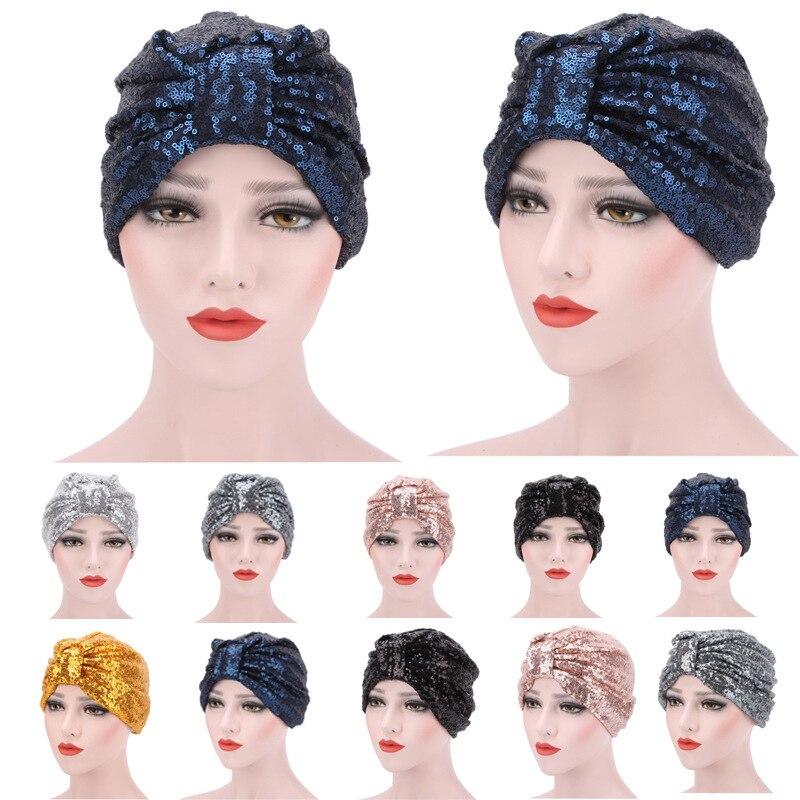 Błyszczące cekiny Bonnet Hat wielokrotnego użytku Turban kobiety muzułmańskie odwracalne pokrowiec na główkę hidżab chusta na głowę noc czapka czapka do spania Pan kwiat
