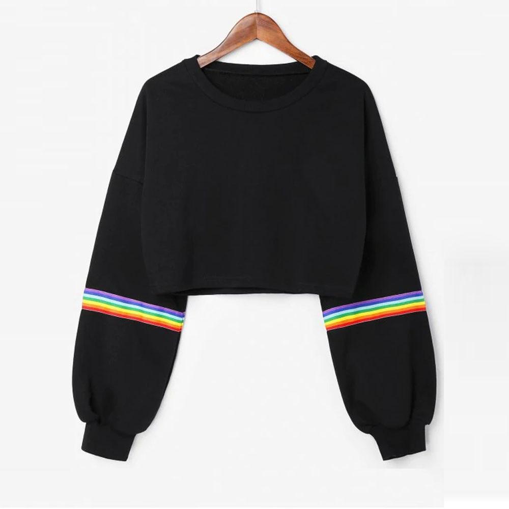 40 # оверсайз худи с длинным рукавом полосатый кроп короткий Свитшот Джемпер черный готический пуловер Женский Топ толстовка худи