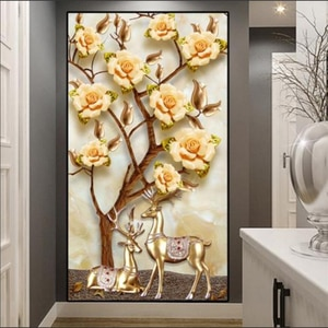 Customized Wallpaper Modern Three-dimensional 3D Luxury Flower Rich and Fortune Deer Marble Entrance Mural Living Room фотообои