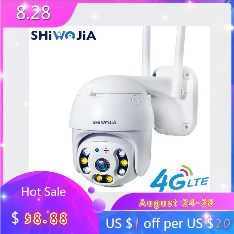 SHIWOJIA SIM 4G cámara de seguridad CCTV wifi HD cámara IP PTZ al aire libre hemisferio Monitor 1080P H.265X CCTV cámara de expansión de tarjeta SD