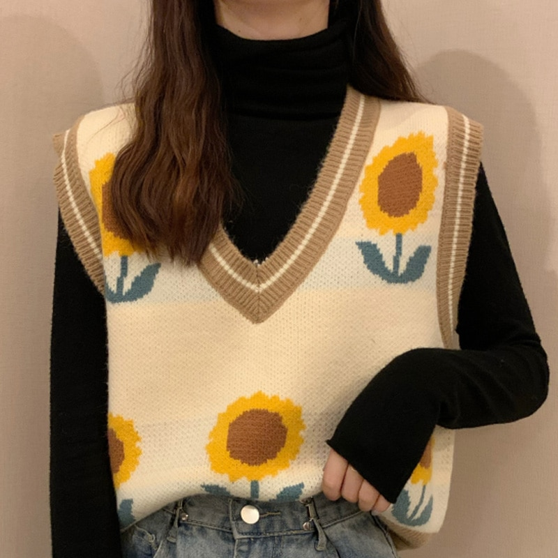 Knitted Women's Sweaters Vest Pullover Harajuku Sunflower V-neck Sleeveless Crop Sweater Female 2020 Autumn Vintage Short Vests