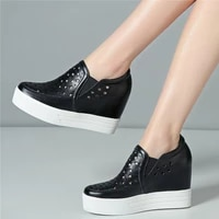 summer fashion sneakers women hollow genuine leather wedges high heel ankle boots female round toe platform pumps casual shoes