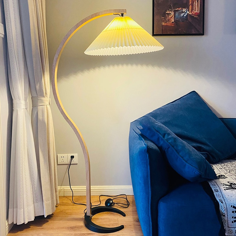 replica arne jacobsen floor lamp aj floor lamp Modern Solid Wood Floor Lamp Pleated Floor Lamp for Bedroom Living Room Vintage Standing Lamp Table Lamp Bedside Lamp