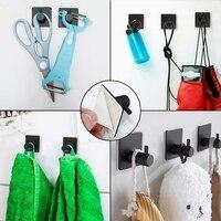 Adhesive Hooks Stainless Steel Wall Hook Heavy Duty Coat Key Robe Towel Hooks for Hanging Bathroom Home Kitchen Office Black (