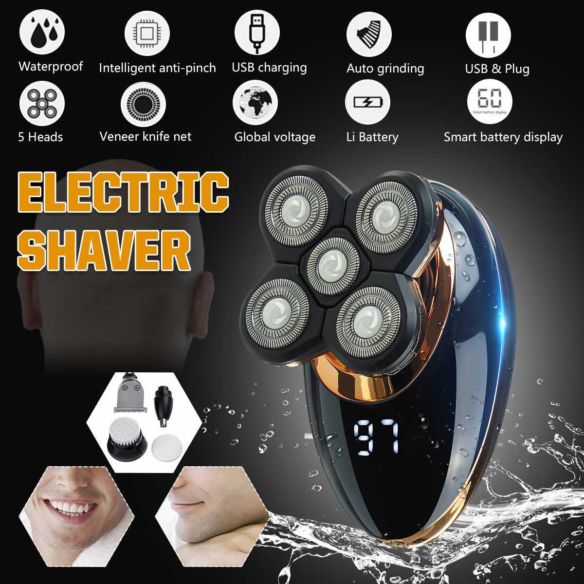 Afeitadora eléctrica recargable por USB 5 en 1, 4D IPX5, diseño ergonómico para hombres y mujeres, cortadora de pelo, esmalte de cabeza calva