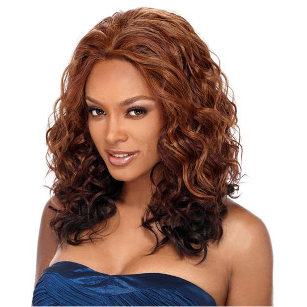Pelucas sintéticas largas de Emir para Mujeres Afro Americanas pelo suelto de onda Ombre pelo negro marrón parte lateral Peluca de fibra de alta temperatura
