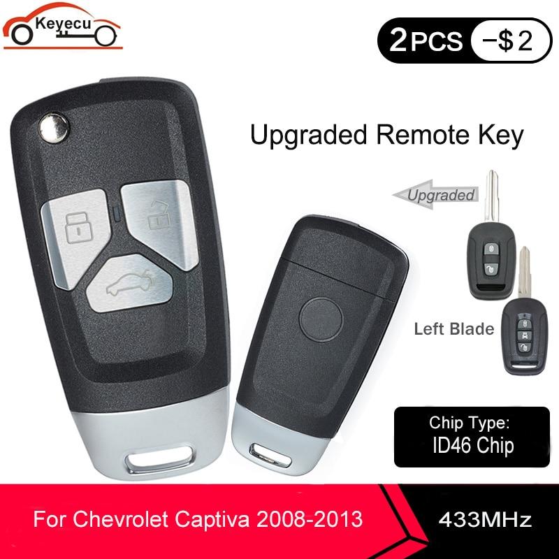 KEYECU mis à niveau secousse remplacement télécommande clé Fob 2 / 3 bouton 433MHz ID46 PCF7936 puce pour Chevrolet Captiva 2008-2011 2012 2013