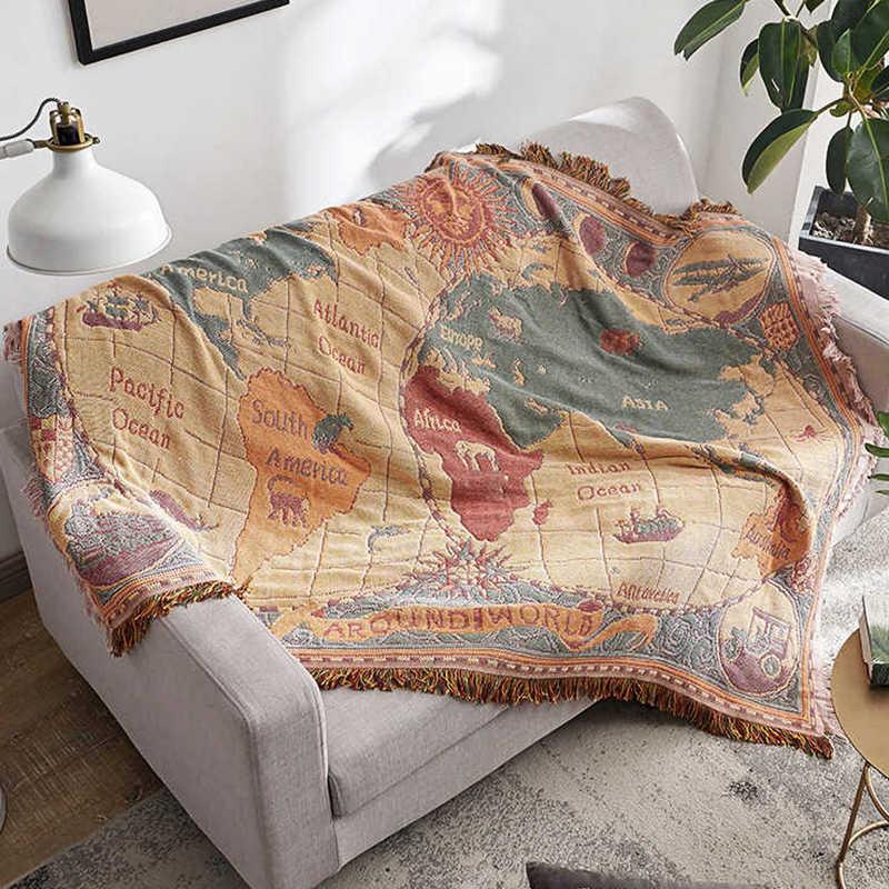 بطانية خريطة العالم بشراشيب 130 × 180 سنتيمتر ، غطاء سرير من القطن المحبوك ، مفرش سرير ، سجادة أرضية ، مفرش طاولة ، كرسي