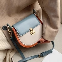 pu leather contrast color crossbody bags for women 2021 fashion small shoulder bag female handbags and purses travel bags