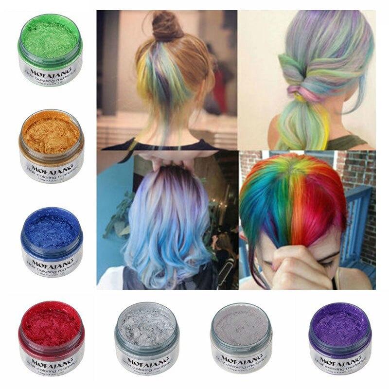 MOFAJANG, promoción de peinado de Color de pelo, cera de pelo plateado gris, tinte temporal para el cabello, Gel, barro, fácil de lavar, cera colorante para el cabello, 120g