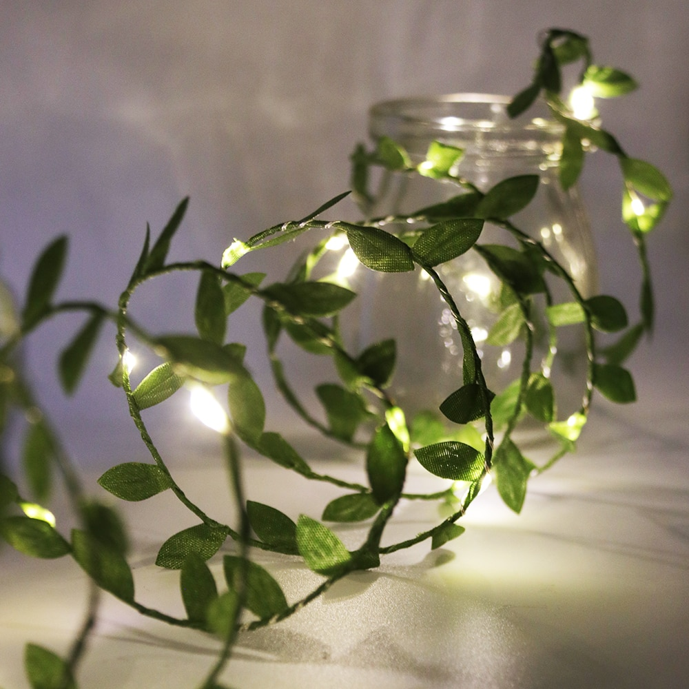 waterproof copper wire fairy garland home christmas wedding party decoration led string light 10m 5m 3m 2m powered by battery Leaf Garland Fairy String Lights 2M 3M 5M 10M Leaf Twine Copper Battery Operate Led String for Wedding Holiday Party Decoration