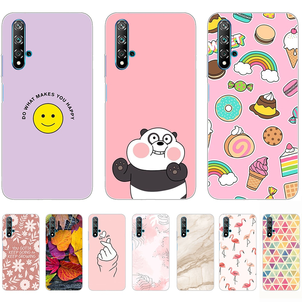 Soft Case for Huawei nova 5T Silicon Luxury Cartoon Transparent Shell Back Cases 6.26Inch Shockproof Bumper Dust-proof Non-slip