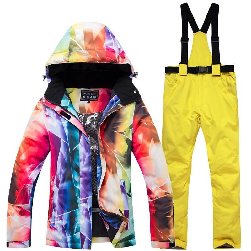 2020 зимняя толстая теплая лыжная куртка, брюки, перчатки, женские непромокаемые ветрозащитные, морозостойкие, женские зимние костюмы для кат...