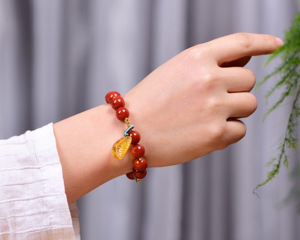 Pulsera de ágata natural de alta calidad, una de las gemas budistas, abalorios rojos redondos sureños con aceite de gota de malaquita ámbar original