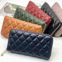 fashion womens day clutch genuine leather handbags large capacity diamond lattice purse mobile phone bag wrist wallet aml932