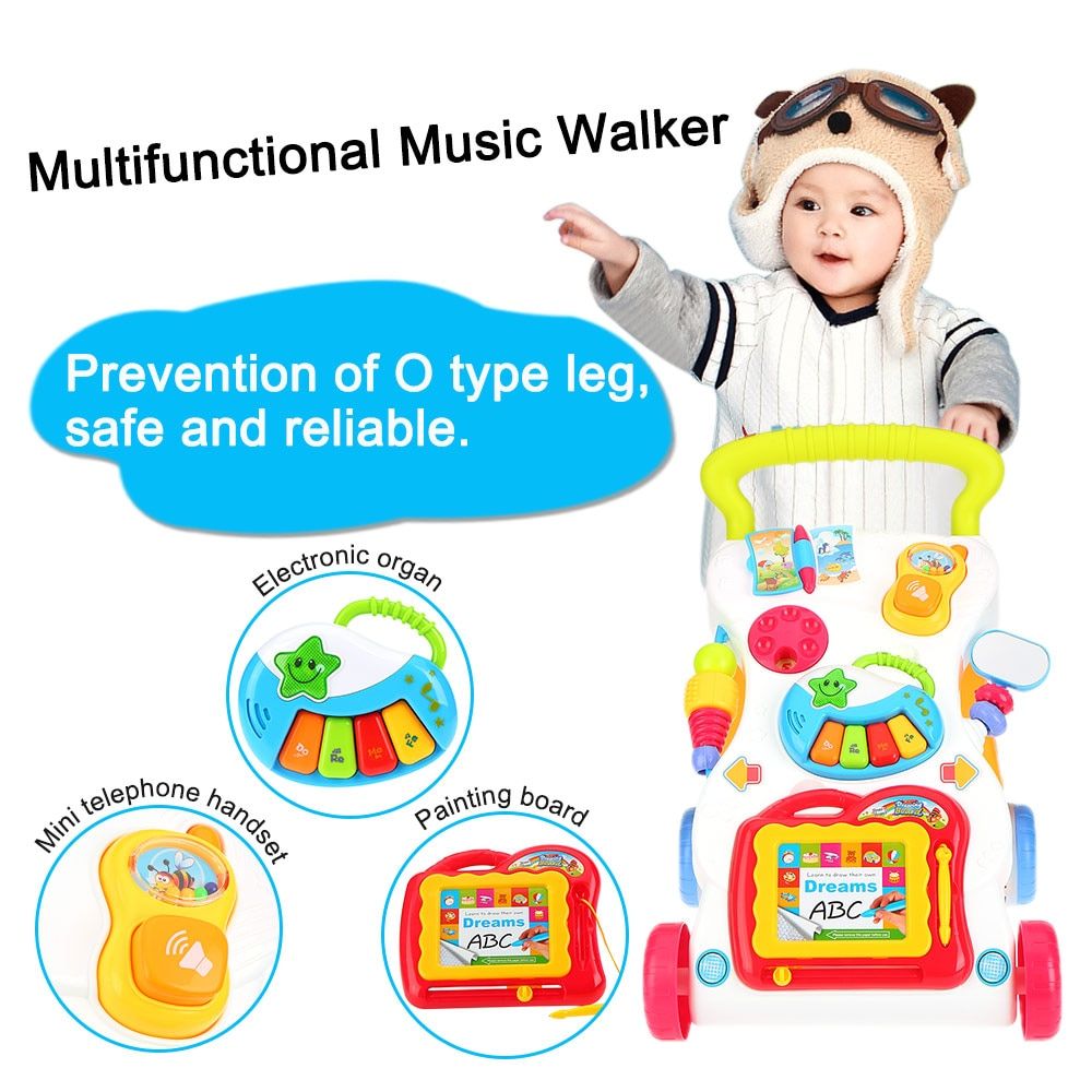High Quality Baby Walker Toys Multifuctional Toddler Trolley Sit-to-Stand ABS Musical Walker with Adjustable Screw for Toddler enlarge