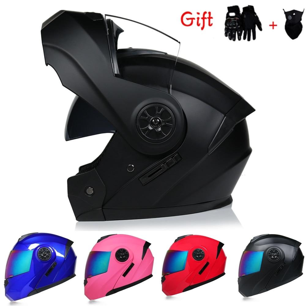 2 Gifts Safety Modular Flip Up Motorcycle Helmet Offroad Racing Dual Lens Helmet Interior Visor Capacete DOT Approved